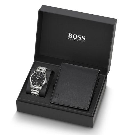 BOSS Watches Classic Steel & Black Men's 42 mm Watch & Wallet Gift Set