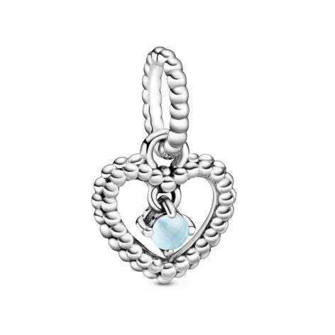 Pandora December Birthstone Silver Heart Dangle Charm