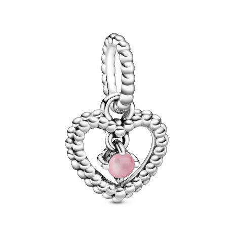 Pandora October Birthstone Silver Heart Dangle Charm