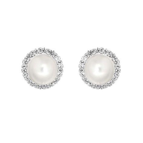 Freshwater Pearl & Silver Sparkle Stud Earrings