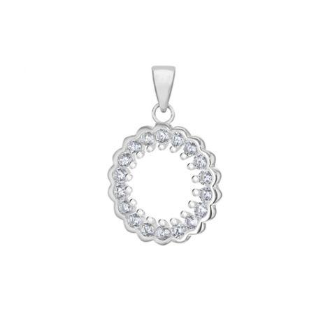 Silver & CZ Open Circle Pendant