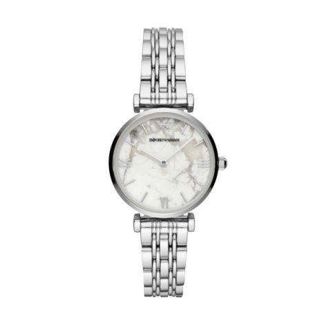 Emporio Armani Gianni Steel & White Marble 32 mm Women's Watch