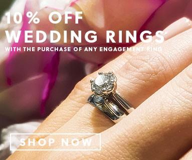 ring on finger, 10% off wedding rings