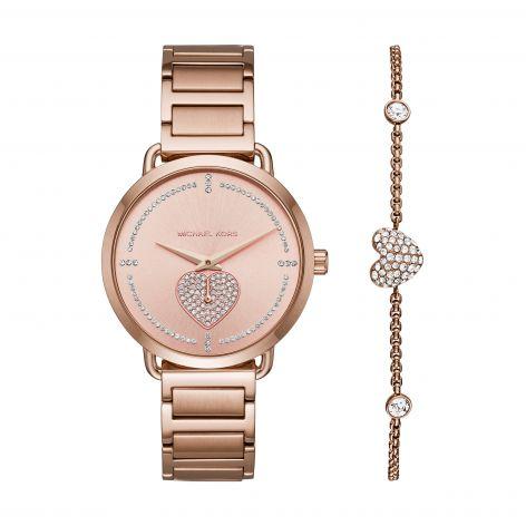 Michael Kors Portia Rose Steel 37 mm Watch & Bracelet Gift Set