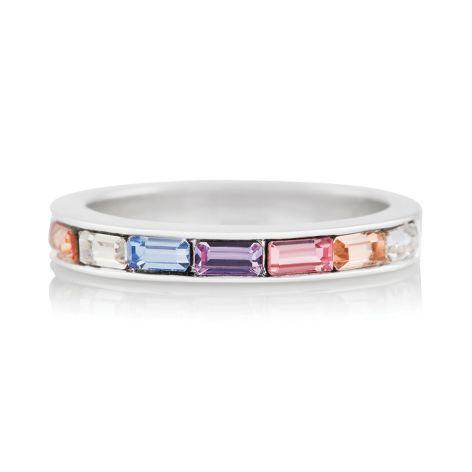 Olivia Burton Rainbow Baguette Silver Ring