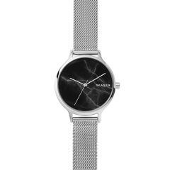 Skagen Anita Stainless Steel Mesh & Black Dial 34MM Watch