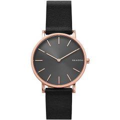 Skagen Hagen Rose-Gold & Black Leather 38MM Men's Watch