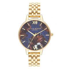 Olivia Burton Semi Precious Lapis Lazuli Golden Steel Floral 34 mm Watch