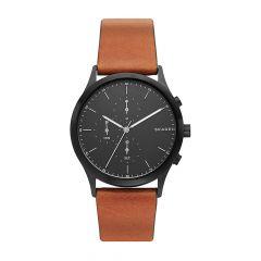 Skagen Jorn Black Steel & Brown Leather 41MM Chronograph Watch