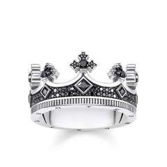 Thomas Sabo Silver & Black Zirconia Gents Crown Ring