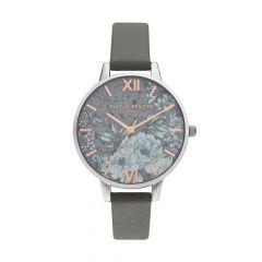 Olivia Burton Terrazzo Florals Steel & Vegan Dark Grey 34 mm Watch