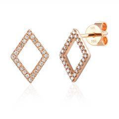 Geometric Diamond Shape & Diamond Set 9 CT Rose-Gold Stud Earrings