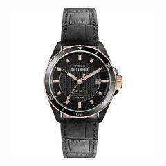 Vivienne Westwood Spitalfields Black Steel & Rose 42 mm Date Watch