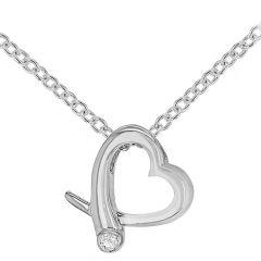 Diamond & Silver Open Crossover Heart Necklace