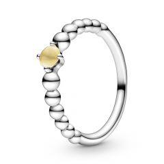 Pandora November Birthstone Citrine & Silver Beaded Ring