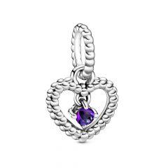 Pandora February Birthstone Silver Heart Dangle Charm