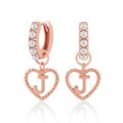 Olivia Burton Initial J Pearl & Rose-Gold Huggie Hoop Earrings
