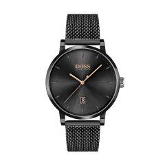 BOSS Watches Confidence Black Steel & Mesh 42MM Men's Watch