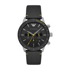 Emporio Armani Mario Steel & Black Leather 44MM Chronograph Watch