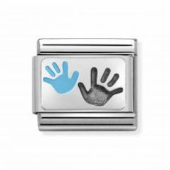 Nomination Composable Classic Steel & Silver Blue Handprint Charm