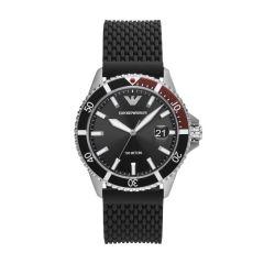 Emporio Armani Diver Steel & Black Dial 42MM Men's Watch