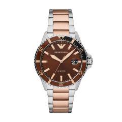 Emporio Armani Diver Two-Tone & Brown Dial 42MM Men's Watch