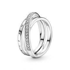 Pandora Signature Crossover Pavé Triple Band Silver Ring