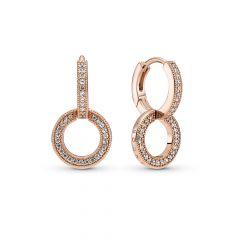 Pandora Sparkling 14K Rose Gold-Plated Double Hoop Earrings