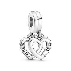Pandora Moments Linked Sister Hearts Split Dangle Charm