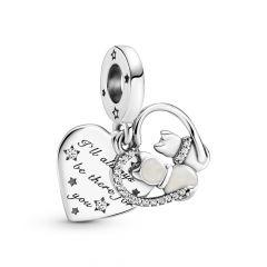 Pandora Moments Cats & Hearts Silver Dangle Charm