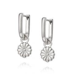 Daisy London Bloom Sterling Silver Drop Huggie Hoop Earrings