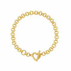 Estella Bartlett Heart T-Bar Gold-Plated Link Chain Bracelet