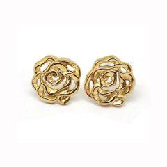 Babette Wasserman Silver & Gold Plated Rose Earrings