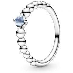 Pandora March Birthstone Aqua Blue & Silver Beaded Ring
