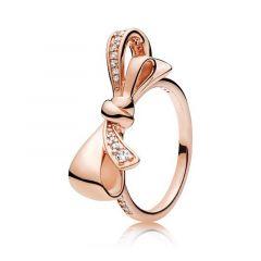 Pandora Brilliant Bow 14K Rose Gold-Plated Ring