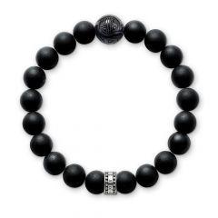 Thomas Sabo Sterling Silver & Matt Black Obsidian Bracelet