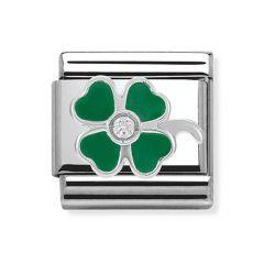 Nomination Composable Classic Silver, Enamel & Zirconia Green Clover Charm