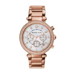 Michael Kors Ladies Parker Chronograph Glitz Rose Gold Plated Watch