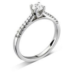 Luxe 'Arch' Round-Brilliant Diamond Shoulder-Set Engagement Ring