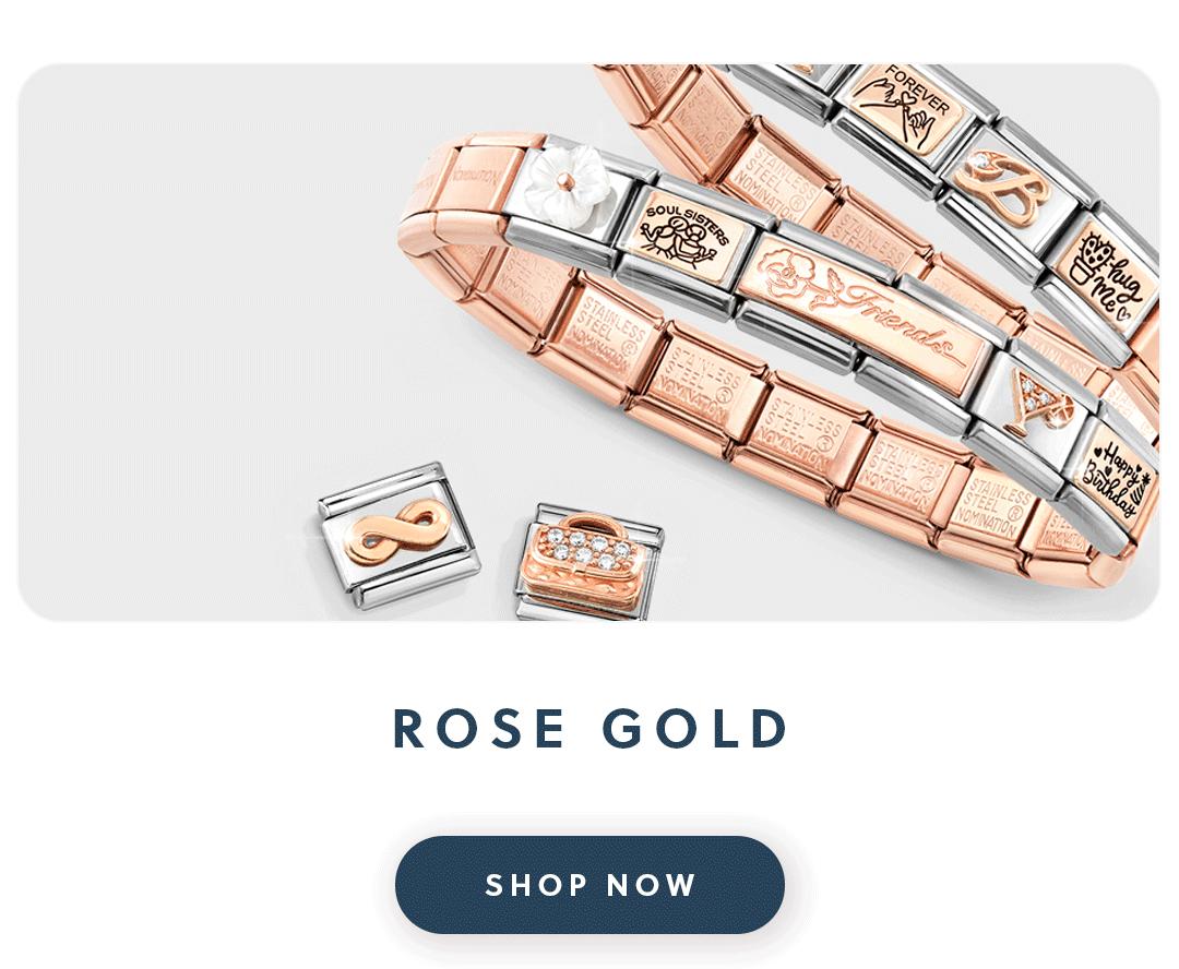 A rose gold Nomination bracelet with text rose gold shop now