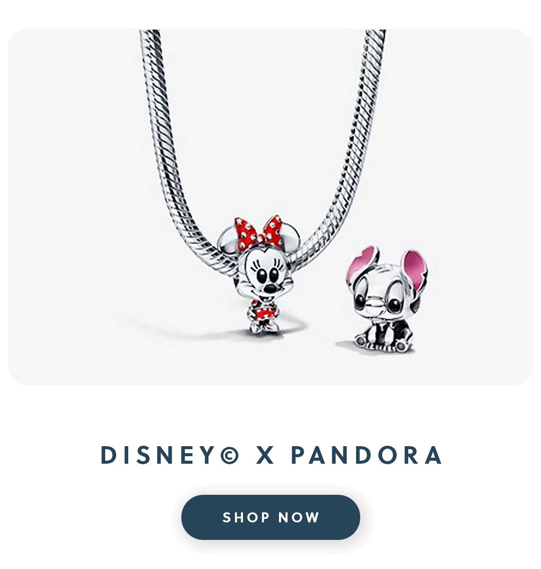 A close up of a Pandora bracelet with a minnie mouse and stitch charm with text disney x pandora shop now