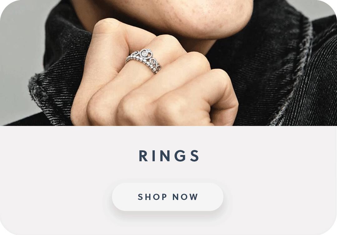 Close up of a woman wearing a Pandora tiara ring